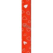 Nekupto Darčekový baliaci papier 70 x 150 cm Červený so srdiečkami 968 30