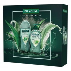 Palmolive Purifying Clay sprchový gél s ílom 250 ml + tekuté mydlo dávkovač 250 ml, kozmetická sada