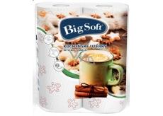 Big Soft Zima papierové kuchynské utierky s potlačou 2 vrstvové 2 kusy