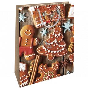 Nekupto Darčeková papierová taška 32,5 x 26 x 13 cm Vianočné medovníky WBL 1946 01
