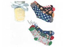 Epee Vianočné ponožky v sklenenej fľaši s uchom pre mužov mix motívov 1 pár, darčekové balenie