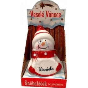 Nekupto Sněhuláček se jménem Daniela Vánoční dekorace 011 rozměr 8 cm
