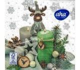 Aha Vianočné papierové obrúsky 3 vrstvové 33 x 33 cm 20 kusov Sob sa sviečky