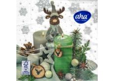 Aha Vianočné papierové obrúsky Sob sa sviečky 3 vrstvové 33 x 33 cm 20 kusov