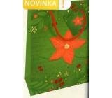 Nekupto Darčeková papierová taška 23 x 18 x 10 cm Vianočná zelená s vianočnou hviezdou WBM 1941 50