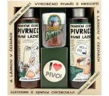 Bohemia Gifts & Cosmetics Pivrnec sprchový gel 250 ml + Vlasový šampon 250 ml + Toaletní mýdlo 70 g + button I love pivo