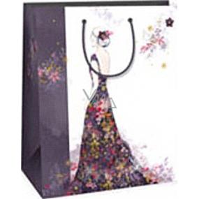 Ditipo Darčeková papierová taška 26,4 x 13,6 x 32,7 cm biela dievča v dlhých šatách