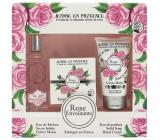 Jeanne en Provence Rose Envoutante - Podmanivá ruže parfémová voda pre ženy 60 ml + tuhé toaletné mydlo mydlo 100 g + krém na ruky 75 g, kozmetická sada