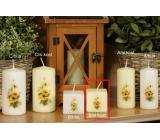 Lima Žlutý květ vonná svíčka slonová kost s obtiskem válec krychle 45 x 45 mm 1 kus