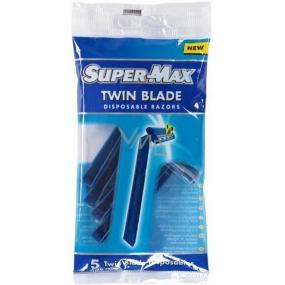 Super-Max Twin Blade jednorazový 2břitý holiaci strojček pre mužov 5 kusov