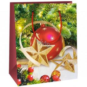 Ditipo Darčeková papierová taška 11,5 x 6,5 x 14,5 cm červená banka zlaté hviezdy E