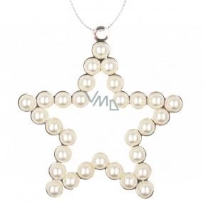 Hviezda kovová závesná s perlami 9 cm