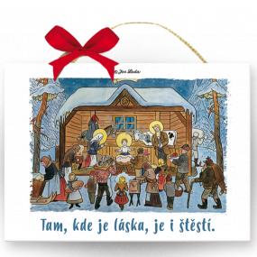 Nekupto Drevená ceduľka Josef Lada Tam, kde je láska, je aj šťastie 12 x 20 x 0,5 cm