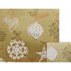 Nekupto Darčekový baliaci papier 70 x 200 cm Vianočné zlatý bielej banky