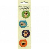 Albi Magnetické minizáložky Mopsíci priemer 3 cm 4 kusy