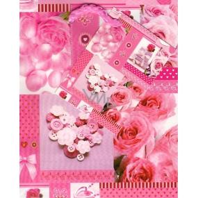 Nekupto Dárková papírová taška malá 14 x 11 x 6,5 cm Růžové růže 1 kus 804 30 BS