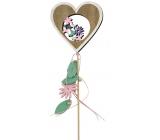 Jarní zápich dřevěný 10 cm + špejle srdce