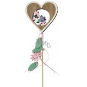 Jarná zápich drevený 10 cm + špajle srdca