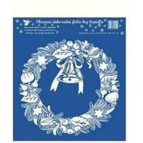 Vánoční okenní fólie bez lepidla fólie bílá bez lepidla věnec 23 x 20 cm