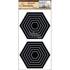 Room Decor Samolepky na zeď šestiúhelník černý 60 x 32 cm