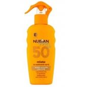Nubian OF50 Mlieko na opaľovanie 200 ml sprej