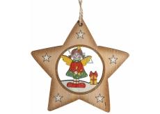 Albi Drevená vyrezávaná vianočná ozdoba Anjel vo hviezdičke 9 x 10 cm