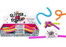 Power Schnur elastický plast, ktorý je roztiahnuteľný do 2 metrov! glitrový - fialový