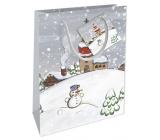 Nekupto Darčeková papierová taška 14 x 11 x 6,5 cm Vianočná zimná krajina snehuliak WBS 1914 02