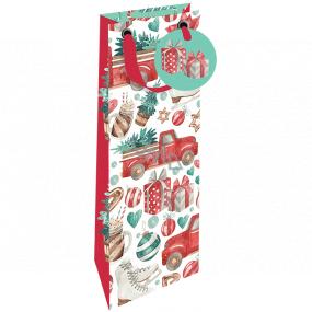Nekupto Darčeková papierová taška na fľašu luxusné 13 x 33 cm Vianočná auto sa stromčekom Wilh 1984