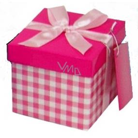 Anjel Darčeková krabička skladacia s mašľou svetlo ružová kocka 10 x 10 x 10 cm 1 kus