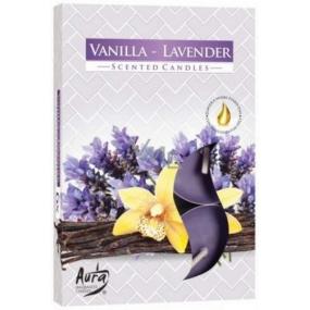 BISPOL Aura Vanilla Lavender - Vanilky a levanduľa vonné čajové sviečky 6 kusov