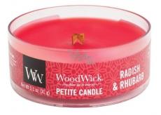 WoodWick Radish and Rhubarb - Ředkev a Rebarbora vonná svíčka s dřevěným knotem petite 31 g
