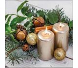 Aha Papierové obrúsky 3 vrstvové 33 x 33 cm 20 kusov Vianočný 2 sviečky, škorica a ozdoby