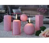 Lima Mramor Vôňa kvetov Ruža vonná sviečka ružová valec 50 x 100 mm 1 kus