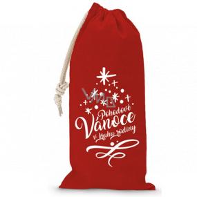 Nekupto Pytlík látkový na fľašu vianočné Pohodové Vianoce v kruhu rodiny červený 150 x 300 mm