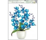 Okenné fólie bez lepidla orchidey modrá 42 x 30 cm