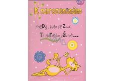 Albi Hracie prianie do obálky K narodeninám Mačka Elán 14,8 x 21 cm