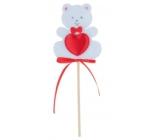 Medvedík z filcu so srdiečkom biely zápich 6,5 cm + špajle