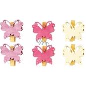 Motýle drevení s kolíčkom fialová, ružová, biela 4 cm 6 kusov