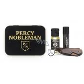 Percy Nobleman Stylingový vosk na fúzy 5 ml + skladacia cestovná hrebienok na fúzy a fúzy + vyživujúci olejový kondicionér na fúzy 10 ml + brošňa s logom Percy Nobleman, pre mužov sada na fúzy