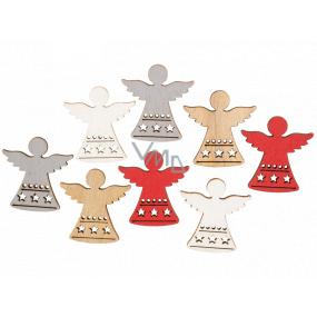 Anjel drevený červeno-strieborno-bielo-hnedý 3,5 cm 8 kusov