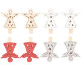 Anjel drevený na kolíčku červeno-strieborno-bielo-béžový 4,5 cm 8 kusov