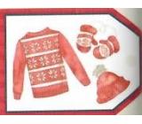 Nekupto Vianočné kartičky na darčeky Sveter, čiapky a rukavice 5,5 x 7,5 cm 6 kusov