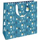 Nekupto Darčeková papierová taška luxusné 33 x 33 cm Vianočná modrá sa snehuliakov WLIL 1977