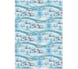 Ditipo Darčekový baliaci papier 70 x 100 cm Vianočné svetlo modrý - domčeky 2 archy