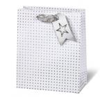 BSB Luxusní vánoční dárková papírová taška 23 x 19 x 9 cm holografické hvězdy VDT 412 - A5