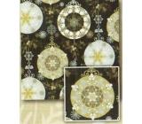 Nekupto Darčekový baliaci papier 70 x 200 cm Vianočný Čierny, strieborný, zlaté gule