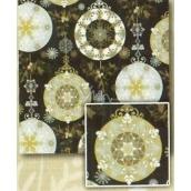 Nekupto Vánoční balicí papír Černý, stříbrný, zlaté koule 0,7 x 2 m