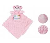 First Steps Usínáček s plyšovou hlavičkou Medveď ružový 30 x 28 cm