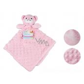 First Steps Usínáček s plyšovou hlavičkou Medvěd růžový 30 x 28 cm